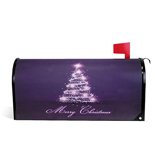 ZZKKO Merry Christmas Tree Magnetic Mailbox Covers, Purple Tree Mailbox Covers Wraps Post Letter Box Cover Home Garden Yard Outside Decorative for Standard Size 18