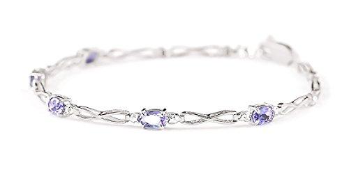QP joailliers Bracelet en or blanc 9carats Diamant et tanzanite naturelles, 1,15Carats Coupe ovale-3903W