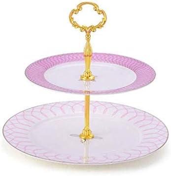 SHUUY フルーツ皿、2層セラミックフルーツプレートのスナックトレイ欧州の家庭用スナックケーキ午後フルーツプレート (Color : Pink)