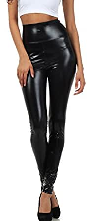 Sakkas Liquid2616 Shiny Liquid Metallic High Waist Stretch Leggings - Made in USA - Black - S