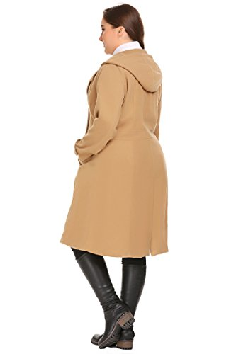 Zeagoo Women Plus Size Double Breasted Wool Elegant Long Lined Lightweight Trench Coat (16W-24W) by Zeagoo (Image #7)'