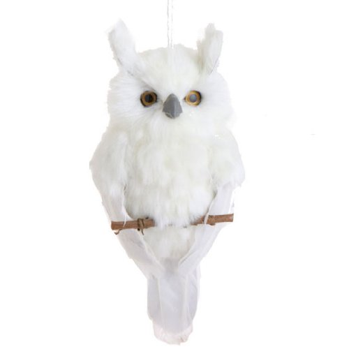 10 Inch White Feather Owl Christmas Tree Ornament,