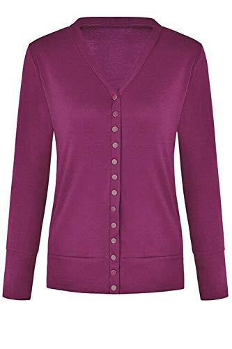 Classic Color L Abrigo Solido Ligero Purple 's Cardigan Button Up Women nIq5FF