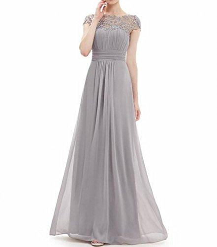 Leader Grau Grau Schönheit Damen Brustumfang Abendkleid offener Rücken Gerüscht der B8axwB