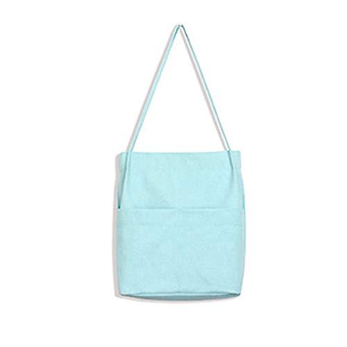 Compras Reutilizable Plegable Playa Bolso Bolsa Qpzyb Bolsillos Mujer Lienzo De La Tejido Bolsos Algodón Blue TUBnwI0q