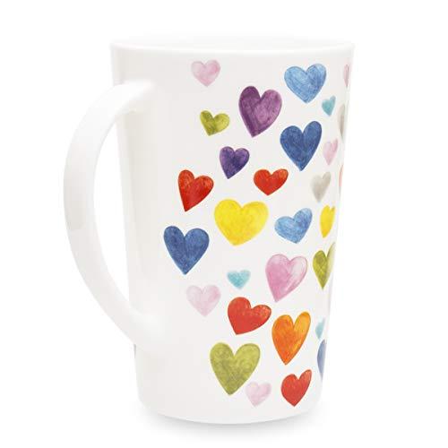 Cute Mugs Colorful Heart Shaped Ceramic Coffee Mug, 400ml Fine Bone China Heart Teacups Perfect Birthday Gifts Christmas Mugs for Women Mom Friends Coworker Boss -
