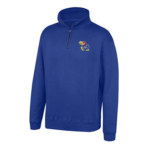 Top of the World NCAA Men's Kansas Jayhawks Team Color Classic Quarter Zip Pullover Royal Small