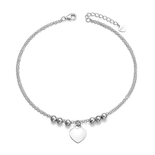 Sterling Silver Dangle Heart Anklet - YinShan Elegant Sexy 925 Sterling Silver Simple Barefoot Chain Anklet for Women Best Gifts Beach Casual Bracelet Jewelry Adjustable Foot Ankle (Heart and Beads)