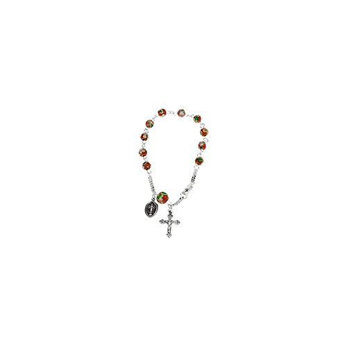 .925 Sterling Silver Red Cloisonne Beads Rosary Bracelet, 7.5''