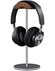 Headphone Stand, Walnut Wood & Aluminum Headset Stand, Nature Walnut Gaming Headset Holder with Solid Heavy Base for All Headphone Sizes (Gray)