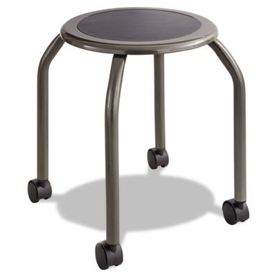 Diesel Series Industrial Stool, Stationary Padded Seat, Casters, Steel/Pewter, Sold as 1 Each (Backless Industrial Stool Base Low)