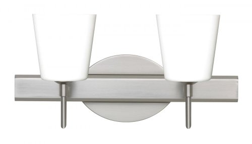 Besa Lighting 2SW-513107-SN 2X40W G9 Canto 5 Wall Sconce with Opal Matte Glass, Satin Nickel Finish