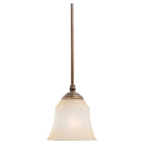 - Sea Gull Lighting 61380-829 Single-Light Mini-Pendant, Ginger Glass Shade, Russet Bronze