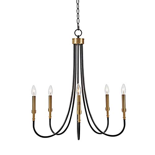 MOTINI 5-Light Farmhouse Chandelier Black and Gold Brass Large Metal Pendant Lighting Fixture for Dining Room, Bedroom…
