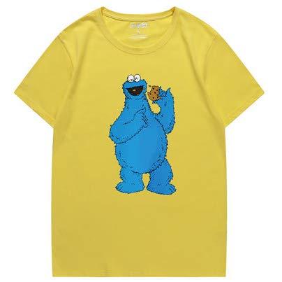 jaune XXXXL T-Shirt Sesame rue KAWS Tendance à Manches Courtes pour Hommes Et Femmes rose-XL