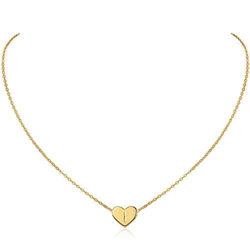 MOMOL Initial Heart Necklace, 18K Gold Plated Stainless Steel Small Dainty Heart Pendant Necklace Personalized Name Necklace Tiny Letter I Charm Necklace for Girls (I)