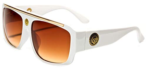 White & Gold Kleo Flat Top Hip Hop Rapper Retro Aviator Sunglasses w/ Brown ()