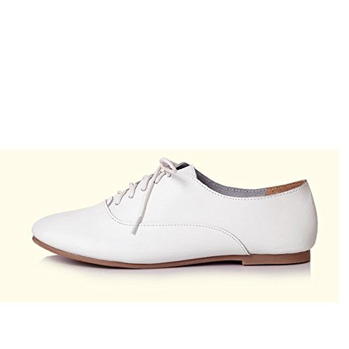 White Oxfords Casual Flats T Shoes Round Toe Comfy Shoes Women's Heel Low up Fashion JULY Lace tqRnZrqU4