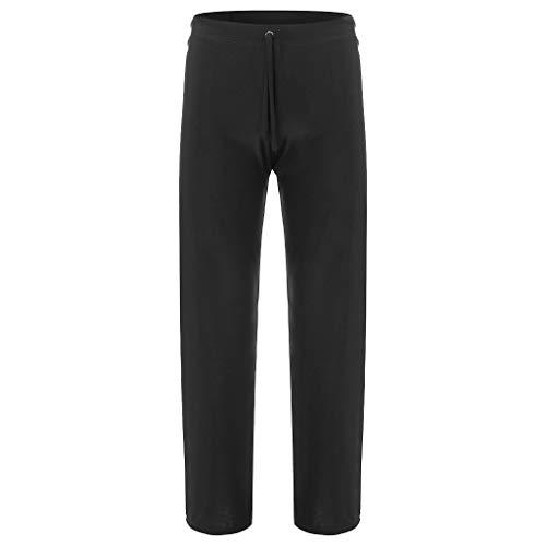 - kaifongfu Men Pants Fashion Men's New Pure Home Pants Yoga Pants Tie-up Comfortable Trousers(Black,XL)