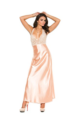 Elegant Moments Robes (Elegant Moments Women's Lace and Charmeuse Halter Neck Gown, Peach, Medium)