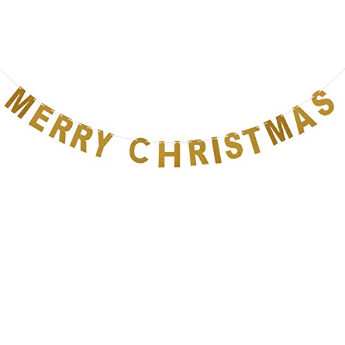 OULII MERRY CHRISTMAS Gold Glitter Bunting Banners Paper Hanging Garland Door Wall for Home Office Party Supplies ()