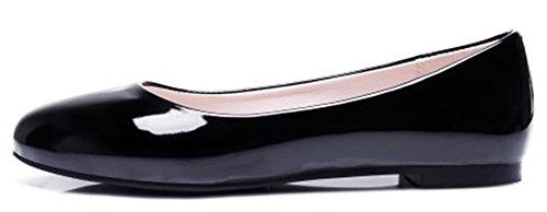 Idifu Womens Décontracté Fermé Bout Rond Bas Top Slip Sur Les Chaussures Chaussures Porter Au Travail Mocassins Noir