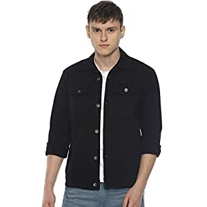 OJASS Full Sleeve Solid Men Black Denim Jacket
