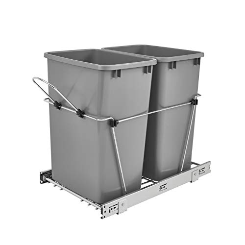 Rev-A-Shelf RV-18KD-17C S Double 35 Quart Sliding Pull-Out Waste Containers Garbage Trash Recycling Bins for Kitchen…