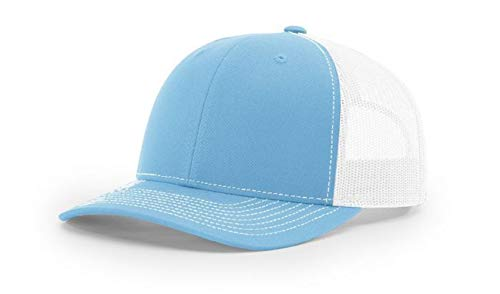 Richardson 112 Mesh Back Trucker Cap Snapback Hat, Columbia Blue/White