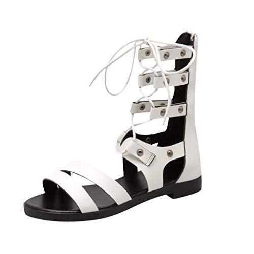 Women's Flat Sandals, Fulijie Summer Casual Roman Cross Strap Zipper Open Toe Sandals Shoes for Party Travel ()