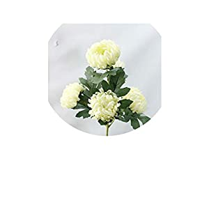 5 Heads 62cm Artificial Flower Ball Chrysanthemum Pompom Silk Single Branch Decor for Home Party Hotel Flower Table Accessories,Light Green 11