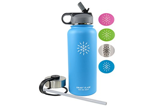 - Smart Flask, Stainless Steel Vacuum Insulated water bottle, Includes Straw Lid and Stainless Steel Lid, 32 Oz, (Blue)