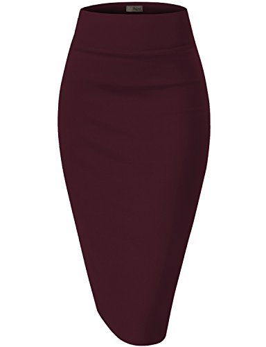 Womens Premium Stretch Office Pencil Skirt KSK45002 Wine XLarge