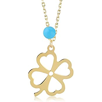 213ba2e7a Gelin 14k Real Gold Four/4 Leaf Clover Chain Necklace for Women with  Turquoise - Certified Fine Jewelry Birthday Gift for Good Luck, 18 inches