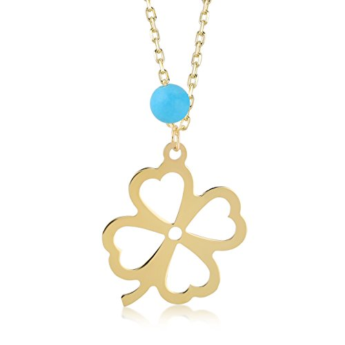 Gelin 14k Real Gold Four/4 Leaf Clover Chain Necklace for Women with Turquoise - Certified Fine Jewelry Birthday Gift for Good Luck, 18 inches