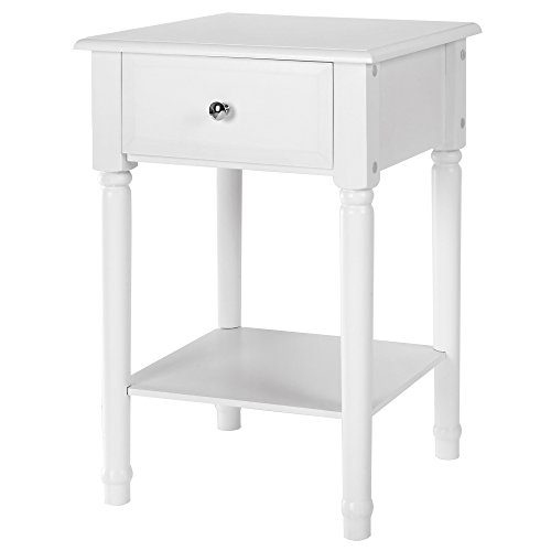 Cabinet End Round Table (SONGMICS White Bedside Tables Nightstand End Sofa Table with Solid Pine Wood Legs Sliding Drawer and Shelf for Storage URDN07W)