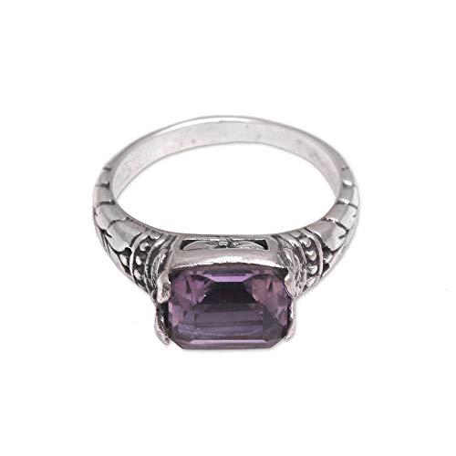- NOVICA Amethyst .925 Sterling Silver Ring, Padang Galak Beauty'