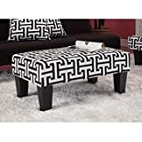 Kebo Ottoman, Black and White Geometric Pattern with Dark Legs, Minimalist Design, Sturdy Dark Legs, Premium Microfiber Upholstery (Ottoman)