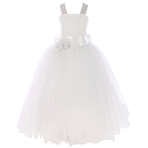 FAYBOX Pageant Wedding Flower Girl Dress Crossed Back Bow Feather Sash Fluffy 4 Ivory