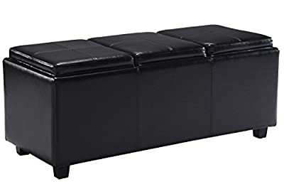 Simpli Home Avalon Faux Leather Rectangular Storage Ottoman with 3 Serving Trays