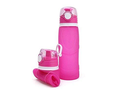 Yunqir Flexible 701-800ml Folable Water Bottles Collapsible Flexible Reuable Water Bottle for Hiking Adventures Traveling (Pink) by Yunqir