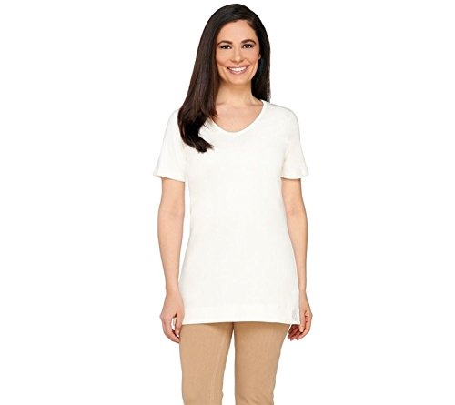 Liz Claiborne NY Essentials Short Sleeve U-Neckline Tunic Cream XS New A261257 Liz Claiborne Woman Blouse