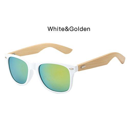 femmes en White de lunettes bambou Haoling Golden hommes lunettes de avec unisexe soleil soleil étui lunettes bois Rétro S1qqx8Bwp4