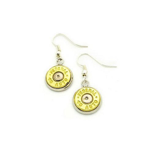 (Cobrabraid Real Bullet Dangling Earrings with Recycled 45-Caliber Bullet Casings, Brass)