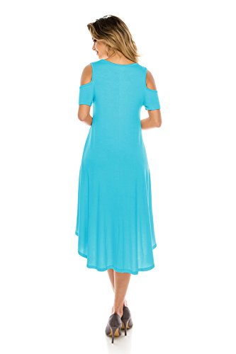Style Women's Hem 5X Midi Span Basic USA Rounded Size Shoulder Doe Cold S Mint Rayon Dress J RxwBqUx