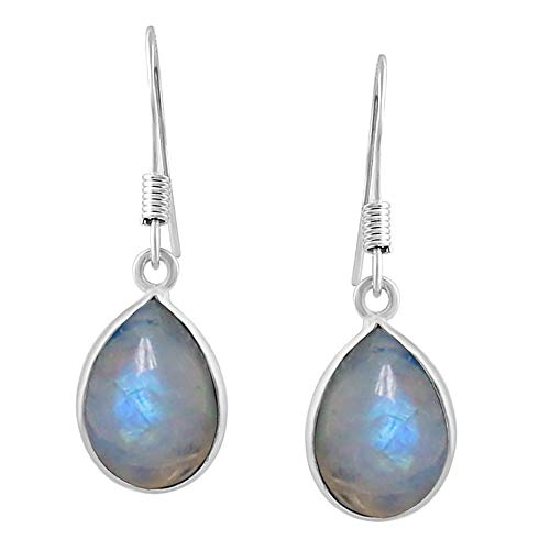 (Natural Pear Shape Rainbow Moonstone Tear Drop Dangle Earrings 925 Silver Plated Handmade Jewelry For Women Girls)
