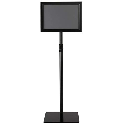 "8.5""x11"" Height Adjustable Aluminum Sign Holder Snap Open Frame Pedestal Poster Stand Display w/Square Base - Black with Ebook from NanaPluz"