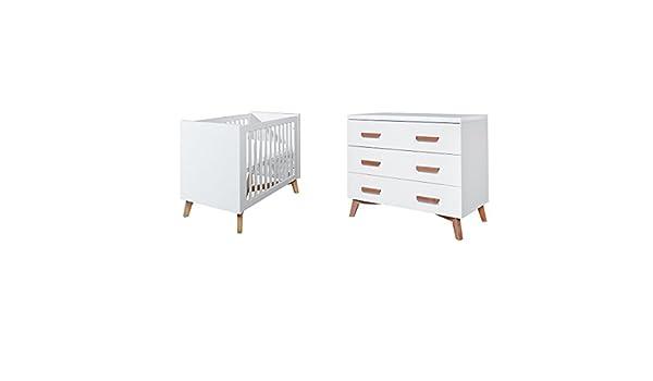 Cuna 60 x 120 y cómoda cambiador TWF – Mika – blanco: Amazon.es: Bebé