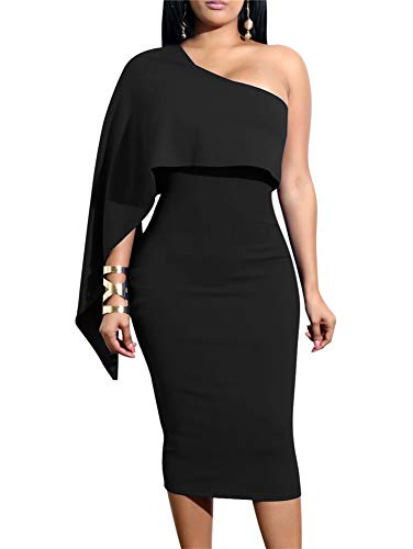 GOBLES Women's Summer Sexy One Shoulder Ruffle Bodycon Midi Cocktail Dress Black