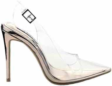 d57893c2f04 Michelle Parker Cape Robbin Seamless Rose Gold Sling-Back Pointed  Transparent Clear Dress Pumps